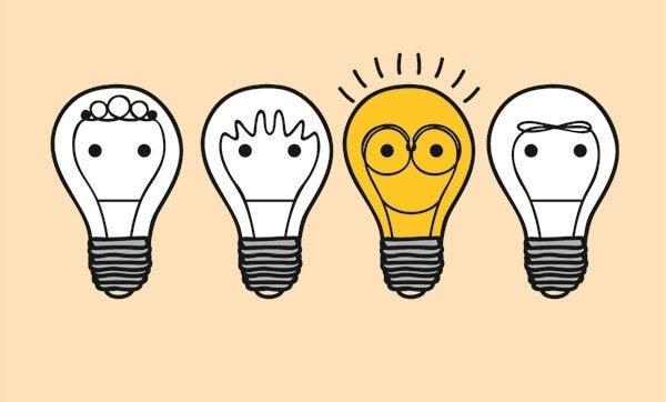 En grupp av glödlampor