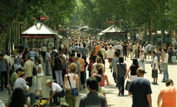 Gatan Las Ramblas i Barcelona, Spanien