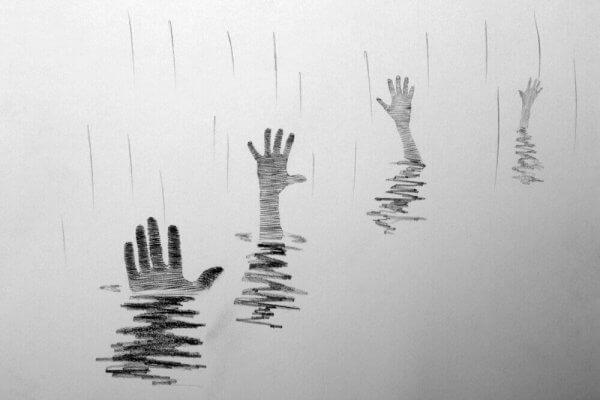 Händer som drunknar i vatten