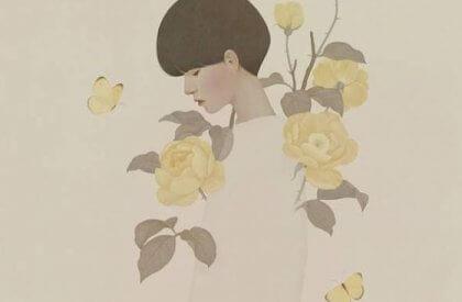 Kvinna med gula blommor
