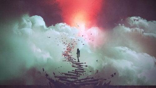 Kvinna som går uppför en stege till himlen.