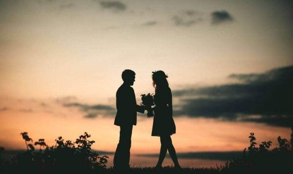 Par utomhus med blommor i solnedgång