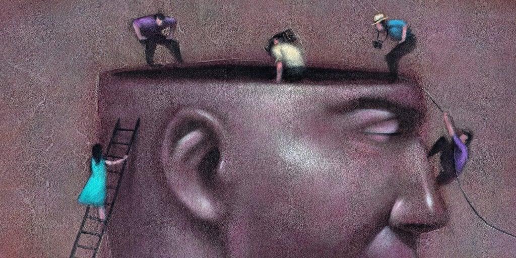 Personer som klättrar in i hjärna.