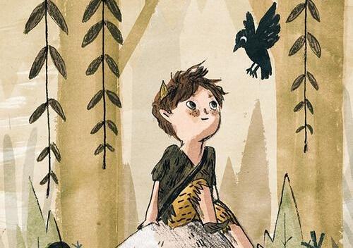 Pojke som tittar på en fågel.