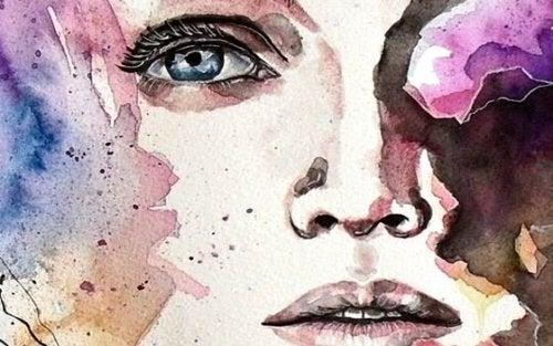 Akvarellmålning av kvinnas ansikte