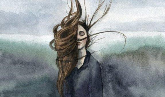 En tjej med vind i håret