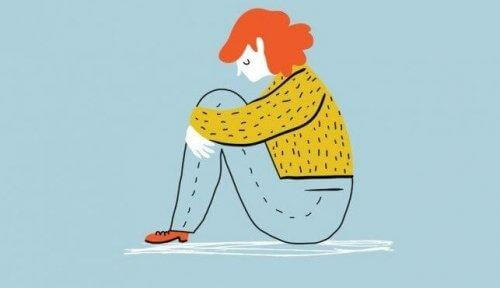 En isolerad tjej med depression