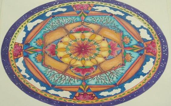 Mandala i olika färger.