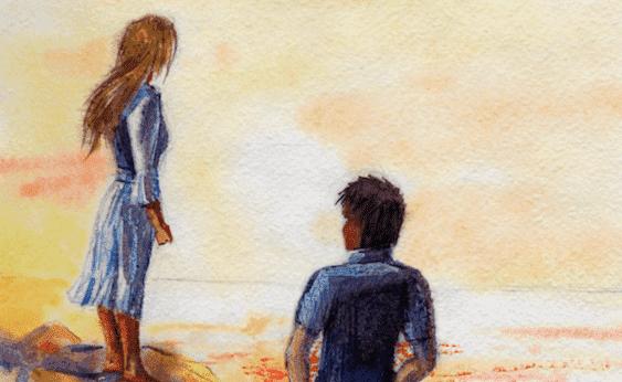 Ett par på stranden
