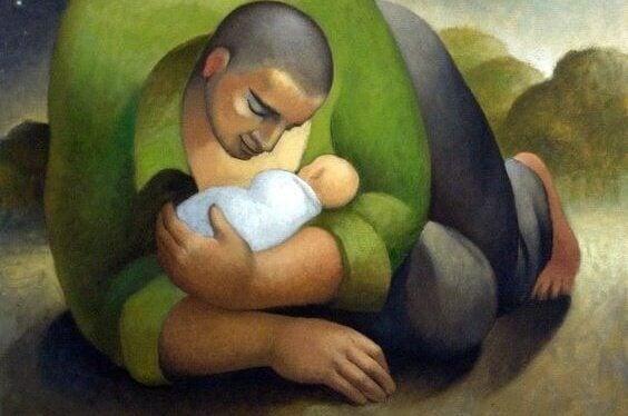 Fader och barn.