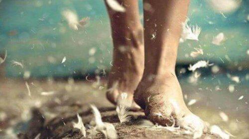 Fötter som omges av fallande fjädrar