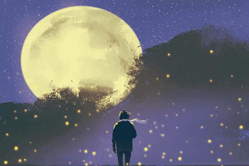 Person i månljus