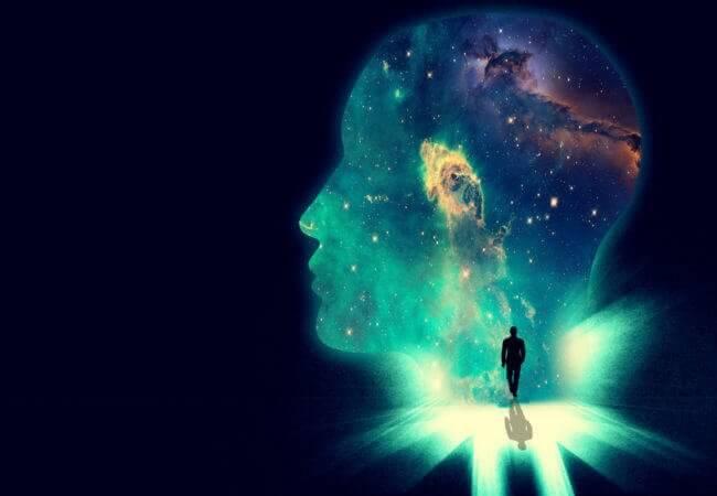Huvud med kosmos.