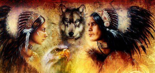 Indianer och vargar.