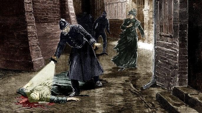 Målning av ett offer för Jack uppskäraren.