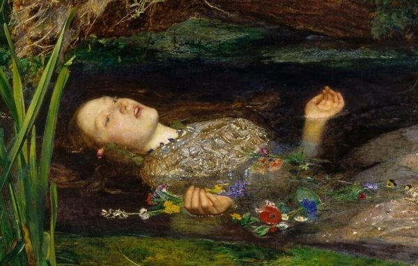 Detta konstverk föreställer Ophelia från Hamlet som liknar Ofelia från Pans labyrint