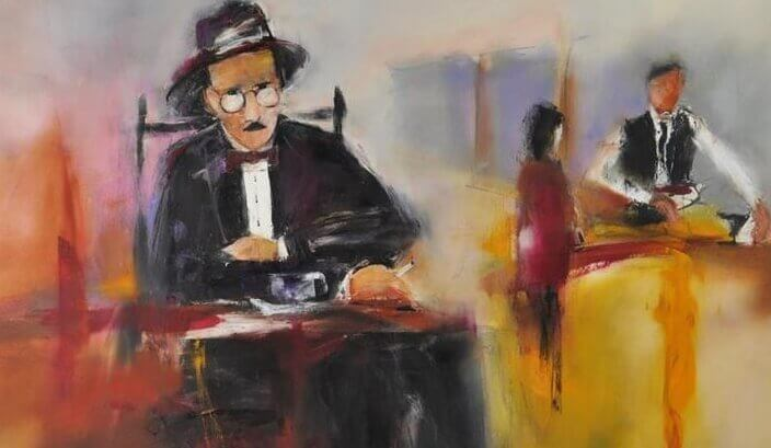 Målning av sittande Fernando Pessoa.