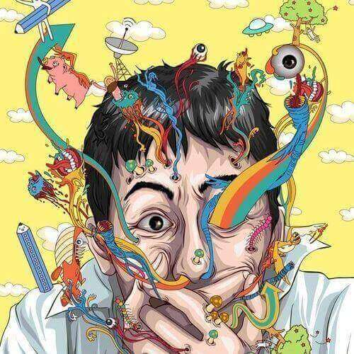 En målning som illustrerar en man som lider av vansinne