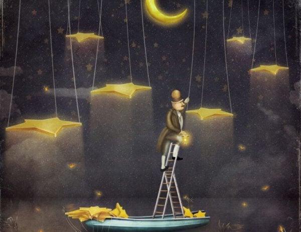Man hänger stjärnor