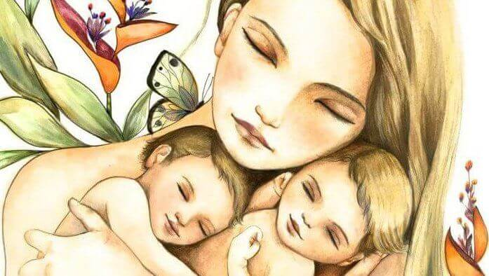 Mor med sina barn.