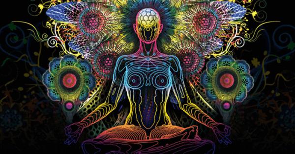 Psykedelisk målning av en mänsklig figur som mediterar