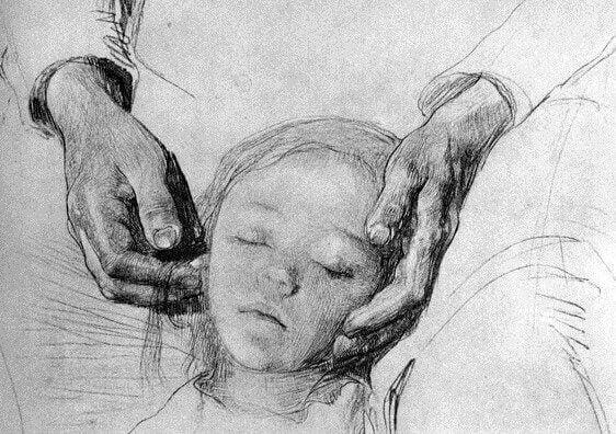 Teckning av mor och barn.