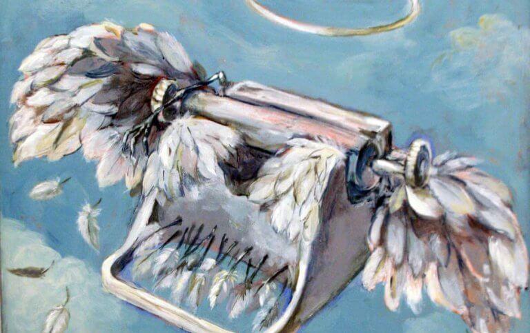 Skrivmaskin med vingar.