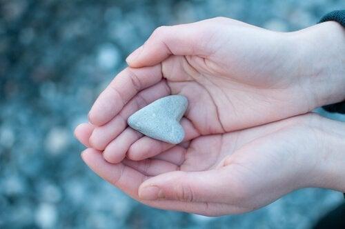Sten formad som hjärta.