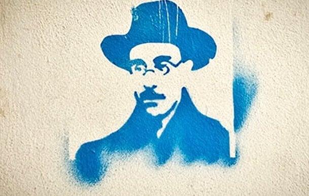 Svartvit målning av Fernando Pessoa.