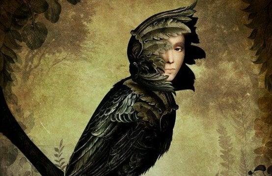 Fågel med människoansikte.