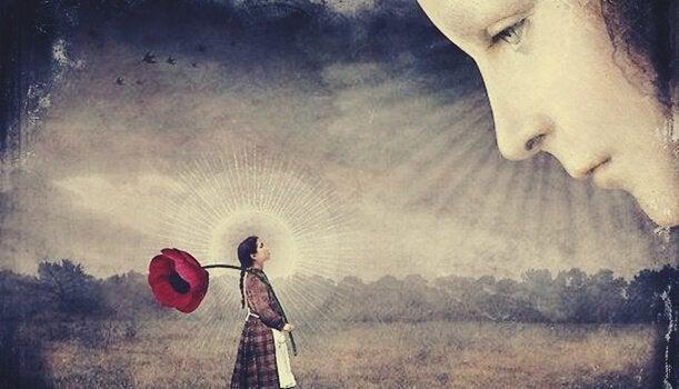 Kvinna med tulpan som tittar mot ett ansikte.