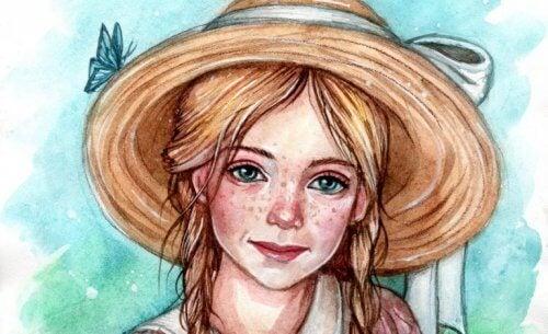 Målning av flicka med hatt.