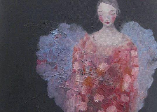 Målning av kvinna.