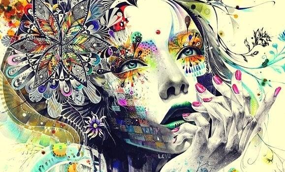 Målning av kvinnas ansikte.