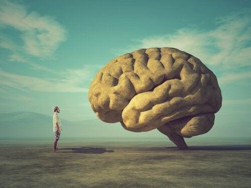 Man som står framför hjärna.