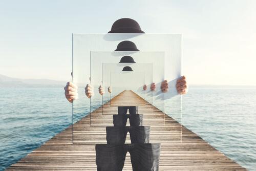 Abstrakt målning av man med spegel.