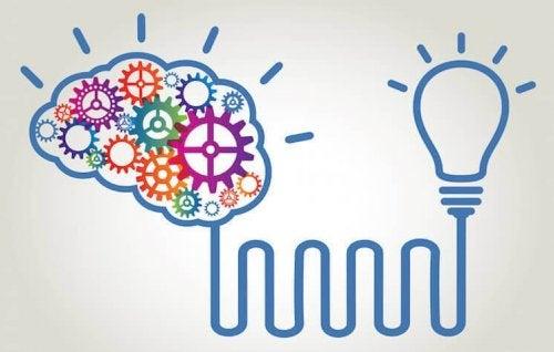 En hjärna kopplade till en glödlampa