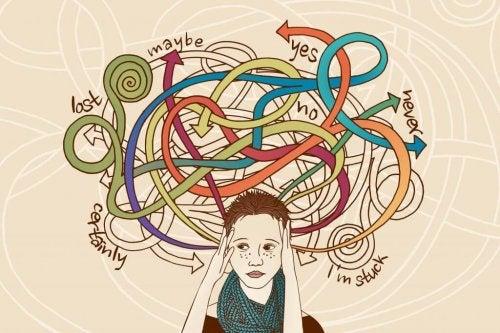 Stressad person med många val