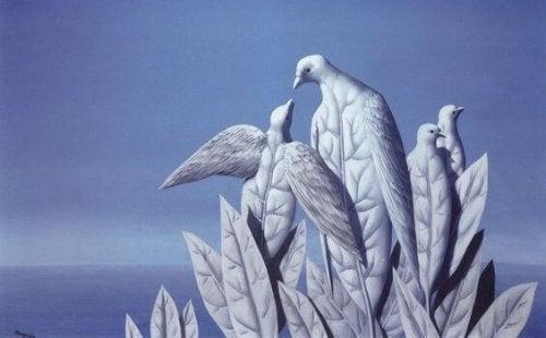 Struktur med fåglar och blad