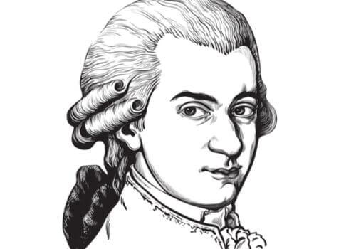 En teckning av Wolfgang Amadeus Mozart.