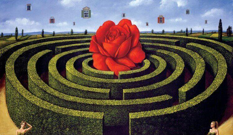 Trädgård i form av labyrint.