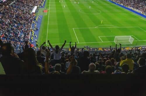 Fotbollsmatch och fans.