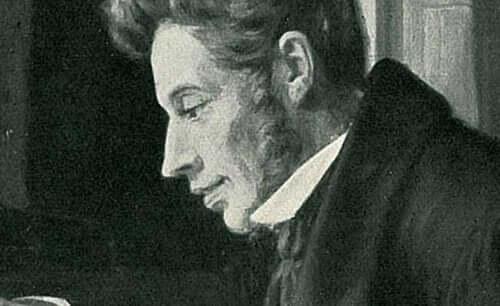 Målning av Kierkegaard.