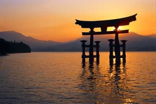 Solnedgång i Japan.