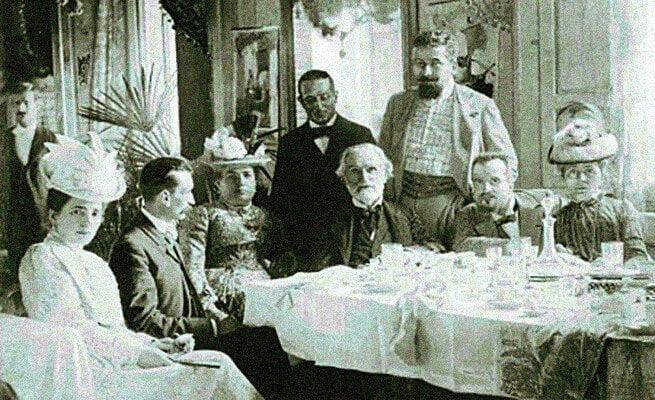 Giuseppe Verdi på en middagsfest.