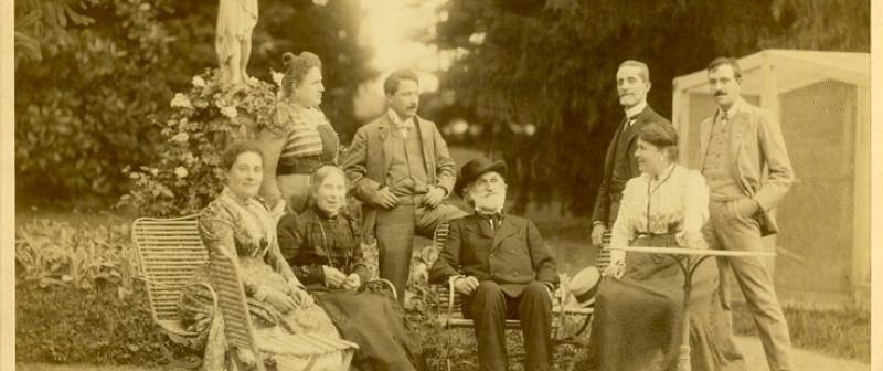 Giuseppe Verdi fotograferad med sin familj.