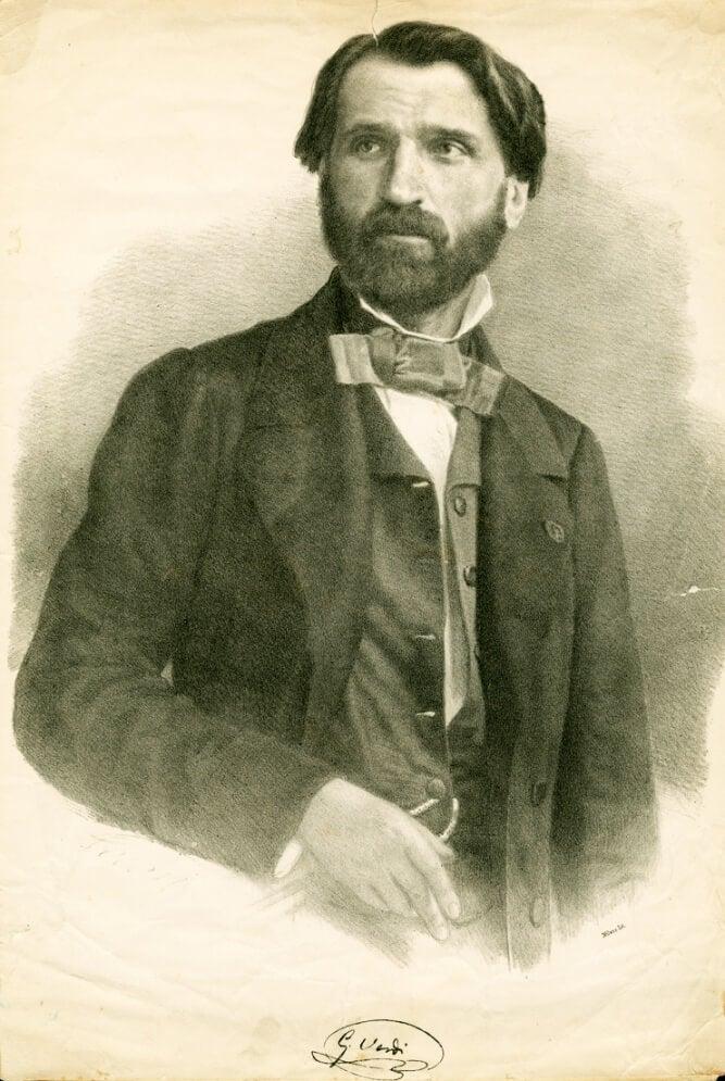 En illustration av en ung Giuseppe Verdi