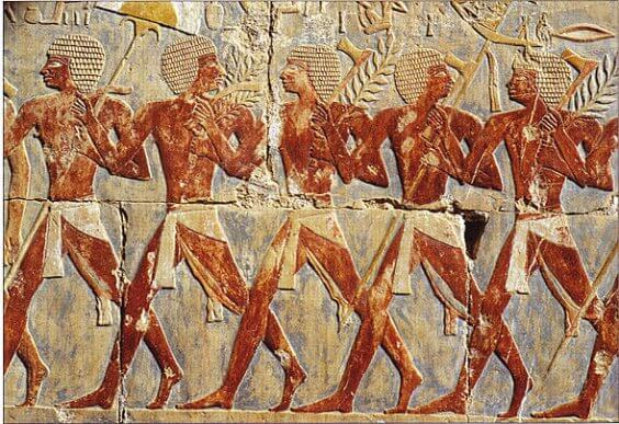En representation av forntida egyptiskt infanteri.