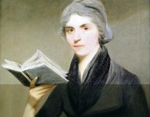 Mary Wollstonecraft med en bok i handen