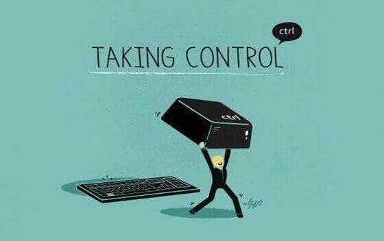 En teckning av en figur som tar kontroll.